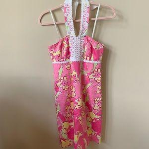 Lilly Pulitzer floral crochet halter dress #184
